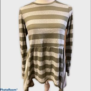 Green/Grey Striped long Sleeved Skirted Top